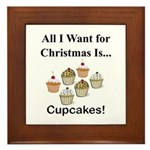 Christmas Cupcakes Framed Tile