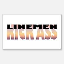 Linemen Kick Ass Rectangle Decal