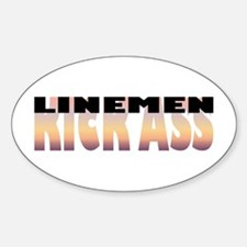 Linemen Kick Ass Oval Decal