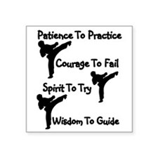 "Martial Arts Kicker Square Sticker 3"" x 3"""