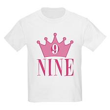 Nine - 9th Birthday - Princess Birthday Party T-Sh