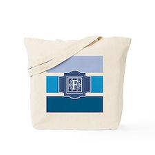 Letter F Monogrammed Blue Stripes Tote Bag