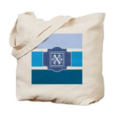 Initial X Monogrammed Blue Stripes Tote Bag