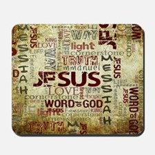Jesus Word Art Mousepad