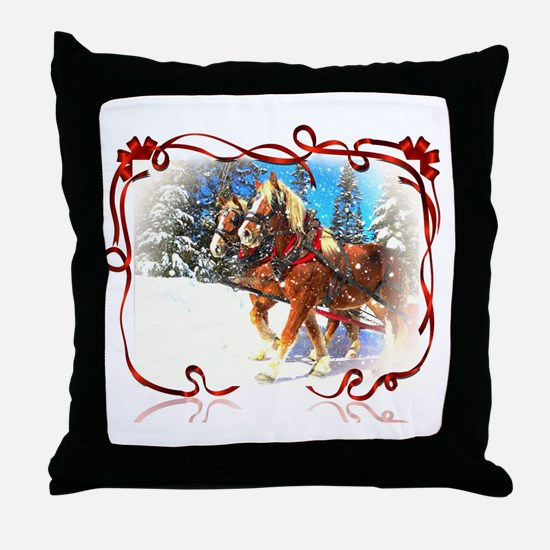 Holiday season' s sleigh ride Throw Pillow