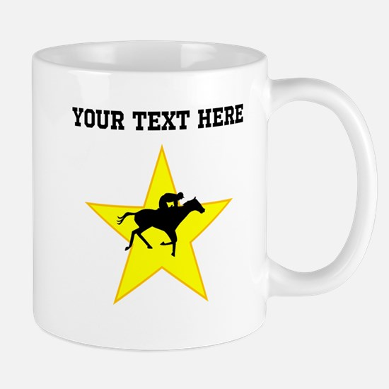 Horse Racing Silhouette Star (Custom) Mugs