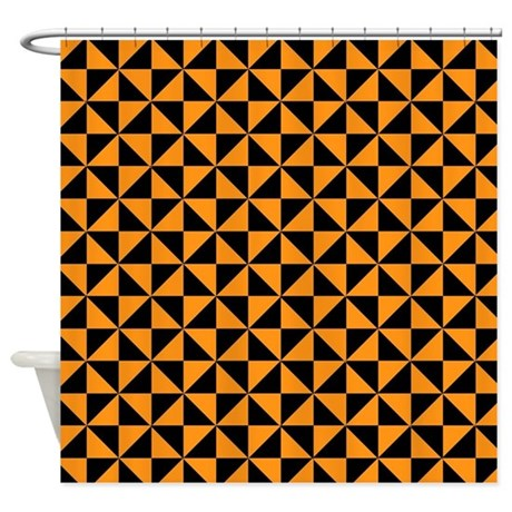 Shower Curtain Bazaar Medallion Brown Orange Spice  And Black Stripes By Stripstrapstripes