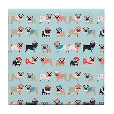 Winter Pugs Tile Coaster