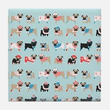 Winter Pugs Tile Coaster