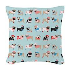 Winter Pugs Woven Throw Pillow