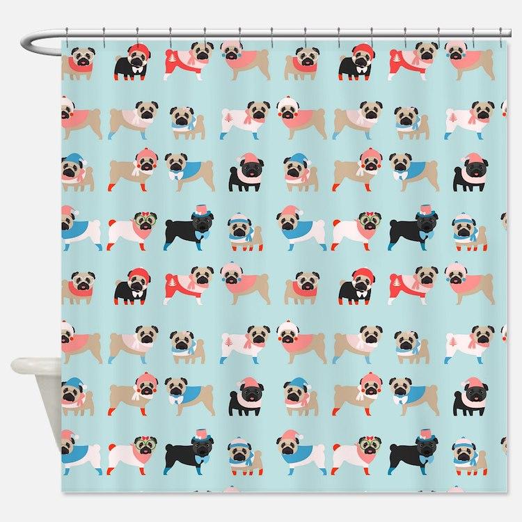 Winter Pugs Shower Curtain