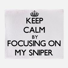 Keep Calm by focusing on My Sniper Throw Blanket