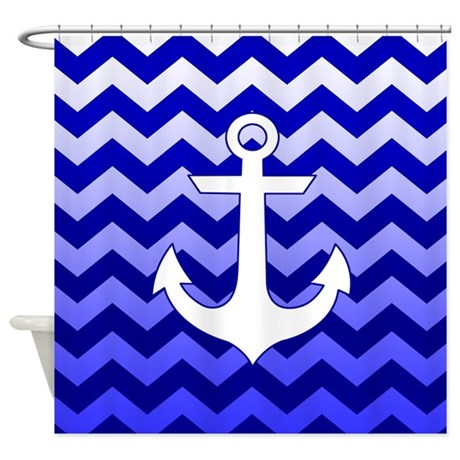 Nautical Chevron Blue Shower Curtain By Listing Store 1519247
