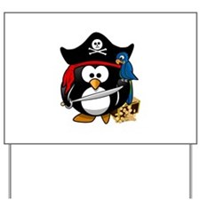 Cute Pirate Captain Penguin Yard Sign