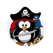 "Cute Pirate Captain Penguin 3.5"" Button (100 pack)"