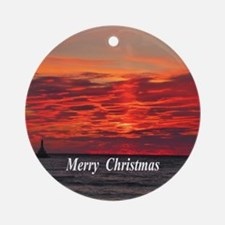 Fire Sunset Ornament (Round)