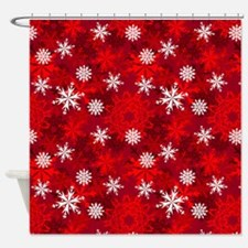 Snowflakes-Red - Shower Curtain