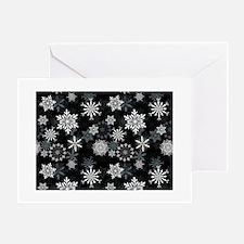 Snowflakes-Black - Greeting Card