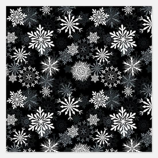 Snowflakes-Black - Invitations