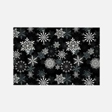 Snowflakes-Black - Rectangle Magnet Magnets