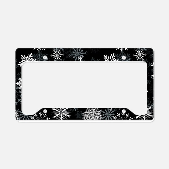 Snowflakes-Black - License Plate Holder