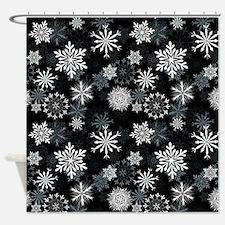 Snowflakes-Black - Shower Curtain
