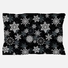 Snowflakes-Black - Pillow Case