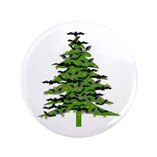 "Christmas Bat Tree 3.5"" Button"