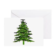 Christmas Bat Tree Greeting Card