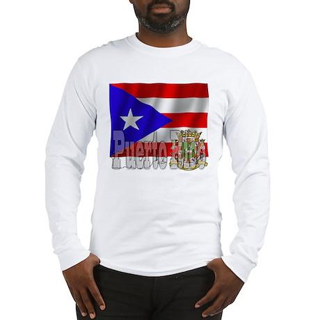 Silky Flag Puerto Rico Long Sleeve T-Shirt