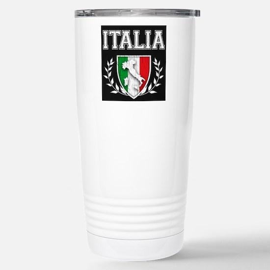 Vintage Italian Crest Stainless Steel Travel Mug