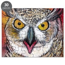 Great Horned Owl with Gold Eyes by GG Burns Puzzle