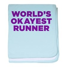 Worlds Okayest Runner - Purple baby blanket
