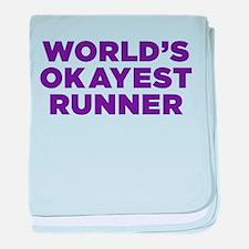 Worlds Okayest Runner - Purple baby blanket