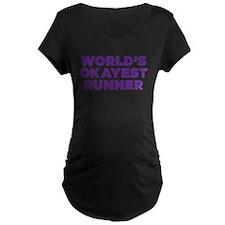 Worlds Okayest Runner - Purple Maternity T-Shirt