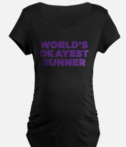 Worlds Okayest Runner - Purple Maternity T-Shirt