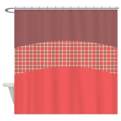 red plaid shower curtain by totallyfabulous