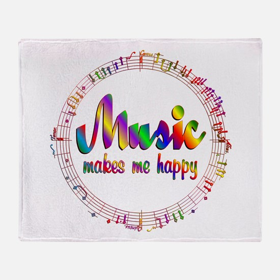Music Makes Me Happy Throw Blanket
