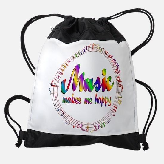 Music Makes Me Happy Drawstring Bag