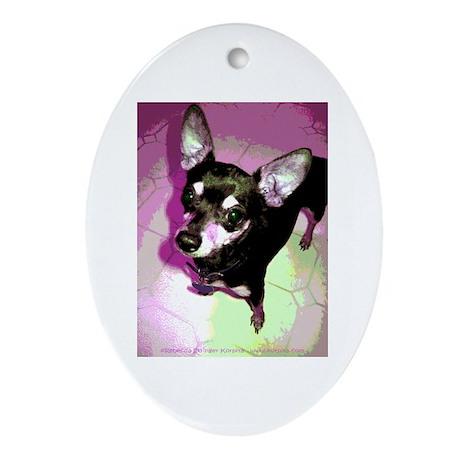 Disco Pepper ~ Chihuahua Oval Ornament