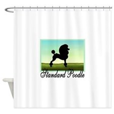 Grassy Field Standard Poodle Shower Curtain