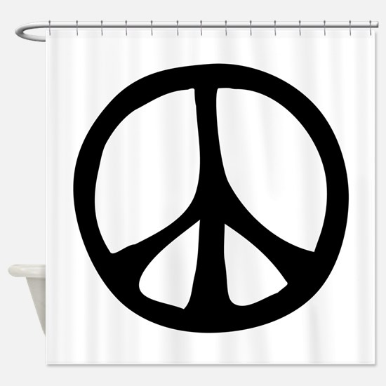 IrregularPeaceSignBW.png Shower Curtain
