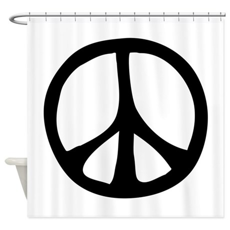 Charming IrregularPeaceSignBW.png Shower Curtain
