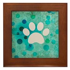 Blue Paw Dot Framed Tile