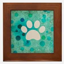 Blue Paw Dot Framed Tile