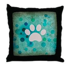 Blue Paw Dot Throw Pillow