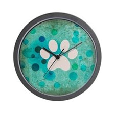 Blue Paw Dot Wall Clock