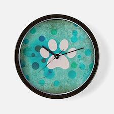 Blue Paw Dot Wall Clock