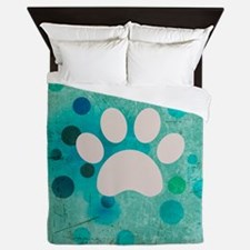 Blue Paw Dot Queen Duvet