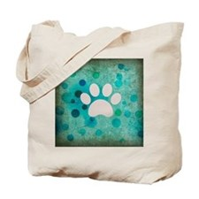 Blue Paw Dot Tote Bag